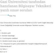 Gazi Üniversitesi tarafından hazırlanan Bilgisayar Teknikeri yazılı sınav soruları