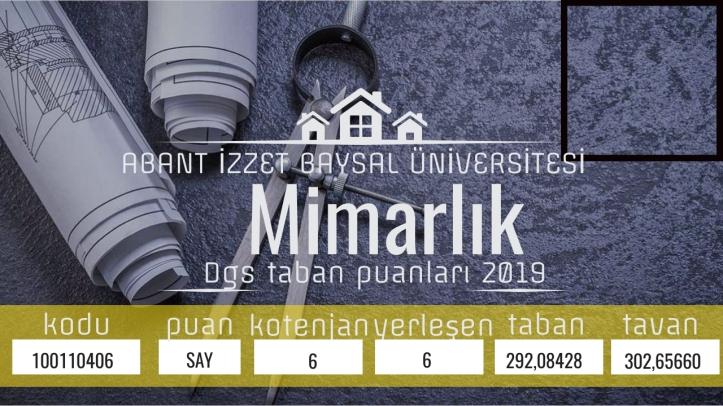 BOLU ABANT İZZET BAYSAL ÜNİVERSİTESİ/Mühendislik-Mimarlık Fakültesi/Mimarlık dgs