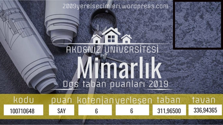 Mimarlık Dgs taban puanları 2019