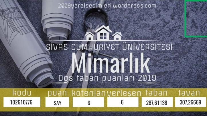 CUMHURİYET Üniversitesi Mimarlık Dgs taban puanları 2019